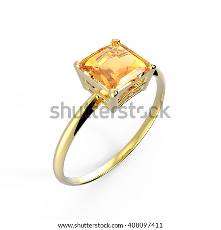 Wedding ring with diamond isolated on a white background. Fashion jewelery. 3d digitally rendered illustration - stock photo