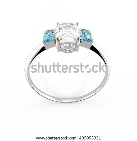 Wedding ring with diamond isolated on white background.  3D illustration - stock photo