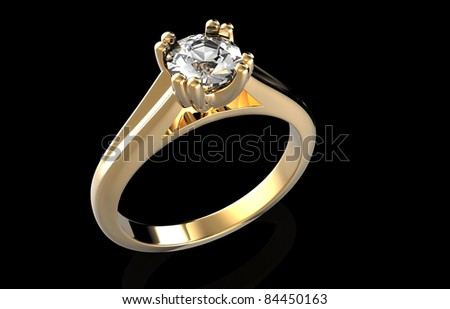 Wedding ring with diamond on black background. Sign of love - stock photo