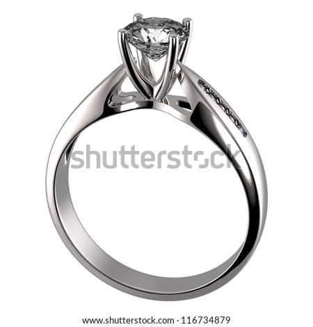 Wedding ring with diamond on white background. Sign of love - stock photo