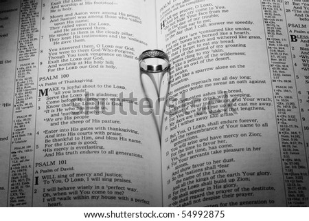 Wedding ring with heart near psalms 100.