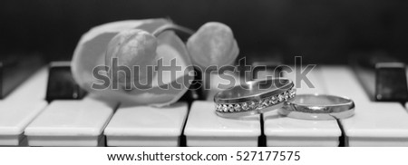 Wedding rings and piano, black and white