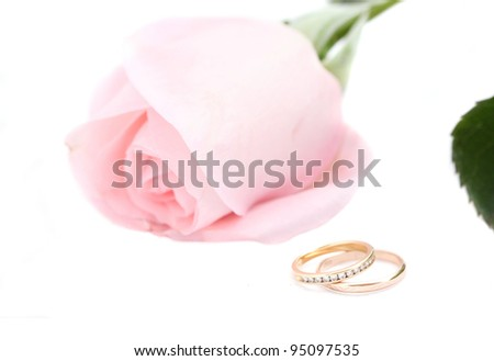 Wedding rings and pink rose on white - stock photo
