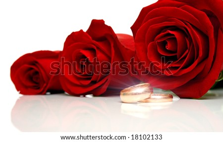 Wedding rings and red roses on white background. Collage with the drawn patches of light on rings. Isolation