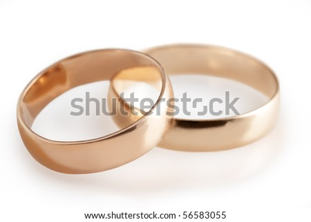 wedding rings and roses - stock photo