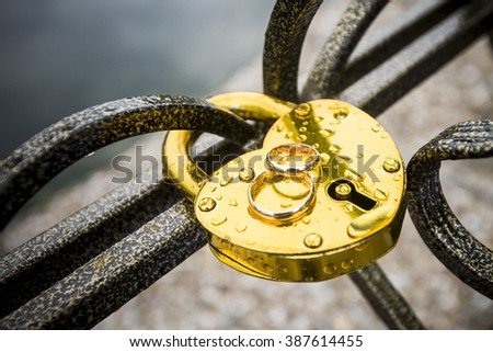 wedding rings before the wedding - stock photo