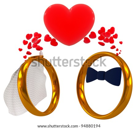 wedding rings - bride and bridegroom, 3d render isolated on white - stock photo