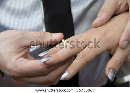 Wedding rings. Bride and groom