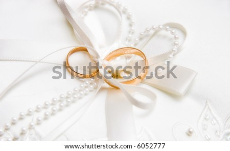 Wedding rings. Bright white background.