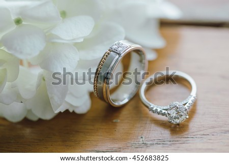 wedding rings, Engagement rings, Wedding rings on background