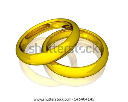 Wedding Rings - Gold - stock photo
