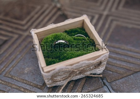 Wedding rings in a wooden box on a bed of moss on textured metallic surface - stock photo