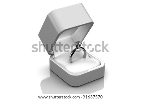 Wedding rings in  gift box - stock photo
