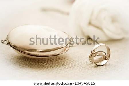 Wedding rings in sepia tones