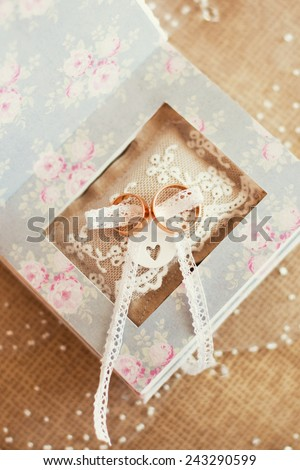 wedding rings in the box - stock photo