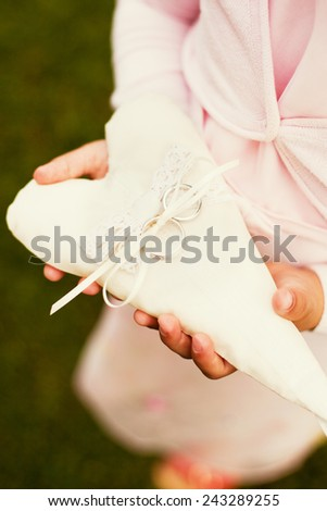 wedding rings in the hands - stock photo