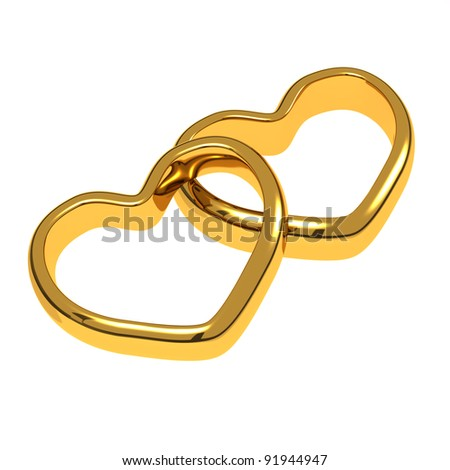 Wedding rings in the shape of hearts - stock photo