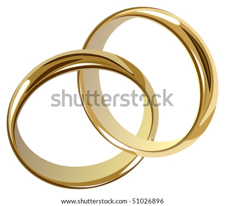 wedding rings (jpg has work path included) - stock photo