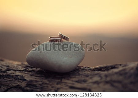wedding rings lie on the sea rock - stock photo