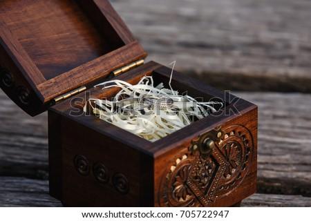 Wedding Rings Bride Groom Vintage Wooden Stock Photo 705722947