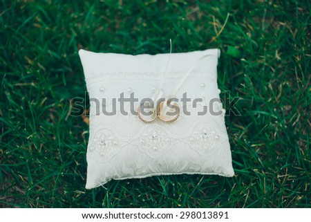 wedding rings on a cushion - stock photo