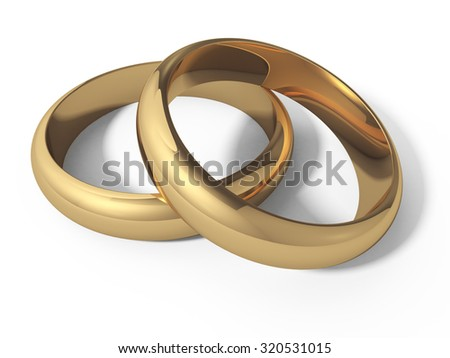 Wedding rings on a white background - stock photo