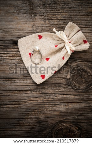 Wedding rings on bag