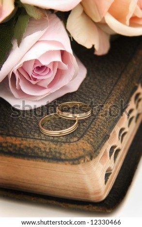 Wedding rings on Bible - stock photo