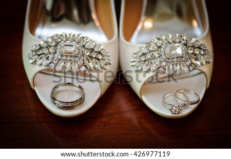 Wedding rings on the shoes