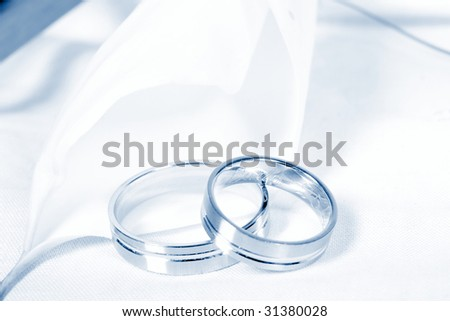 wedding rings on tulip - blue tone