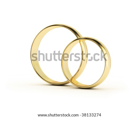 Wedding Rings on white background