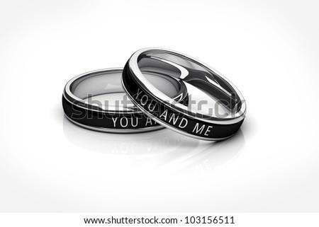 wedding rings Platinum isolated on white background - stock photo