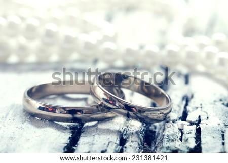 wedding rings, retro style - stock photo