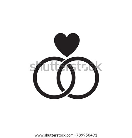 Wedding Rings With A Heart Icon Valentines Day Elements Premium Quality Graphic Design
