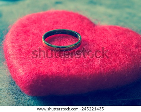 wedding rings with filter effect retro vintage style - stock photo