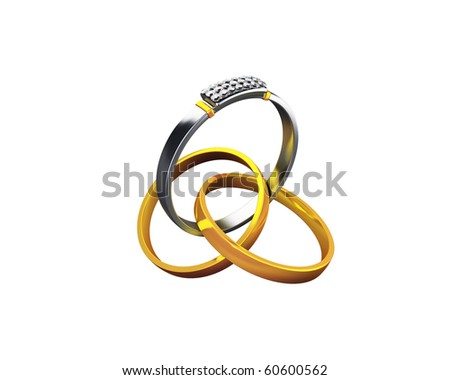 wedding rings with silver ring in the center - stock photo