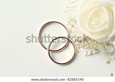 Wedding rings witn place for text - stock photo