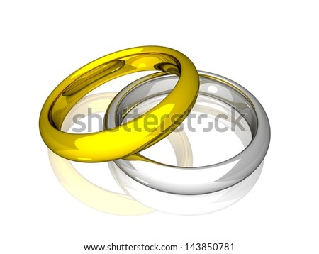 Wedding Rings - Yellow And White Gold - stock photo