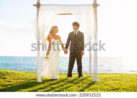 Wedding. Romantic Bride and Groom in Love on Wedding Day. - stock photo