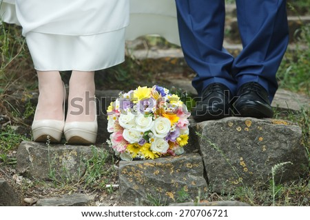 wedding romantic,Wedding shoes and bouquet, - stock photo
