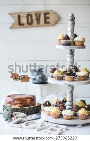 Wedding rustic cupcakes - stock photo