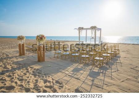 wedding set up on beach,chair - stock photo
