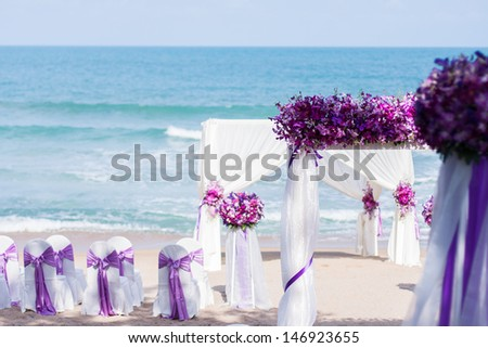 Wedding set up on the beach - stock photo