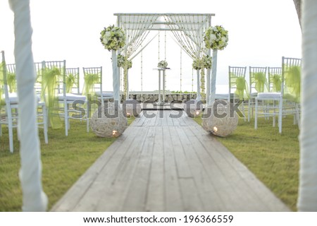 Wedding setting on the garden. - stock photo