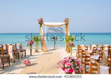 Wedding setup on beach - stock photo