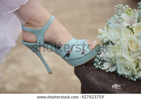 wedding shoes and Bridal bouquet mint green - stock photo