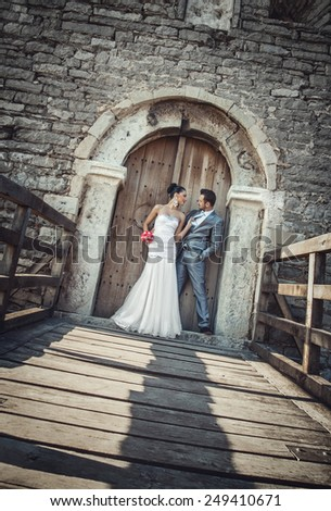 Wedding shot of bride and groom, marriage couple. outdoor, outside - stock photo