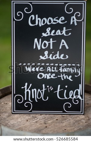 Wedding Signs Choose Seat Not Side Stock Photo (Royalty Free ...