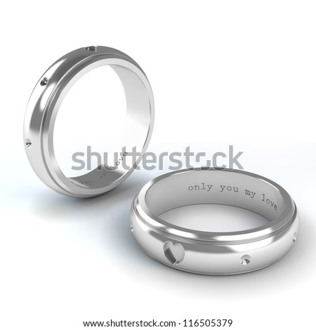 Wedding silver rings isolated on white background - stock photo