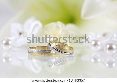 Wedding still life in white - stock photo